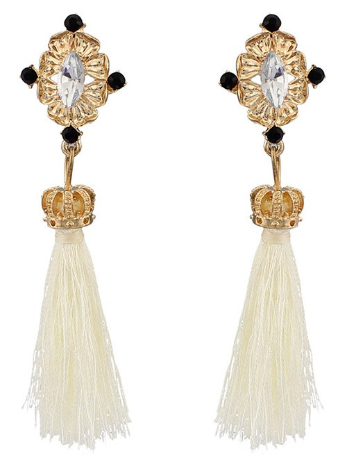 Rhinestone Crown Tassel Earrings