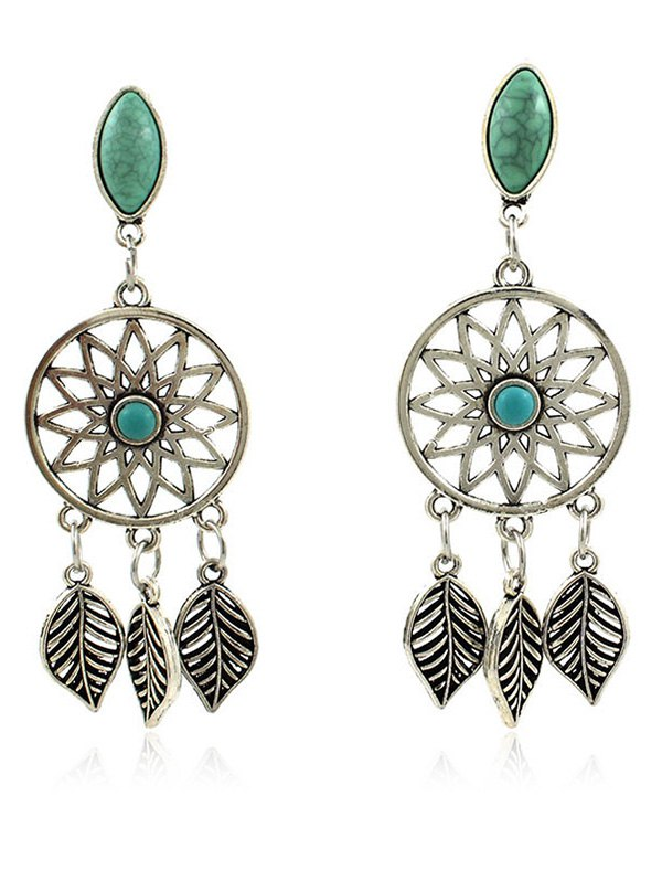 Artificial Turquoise Leaves Bohemian Earrings