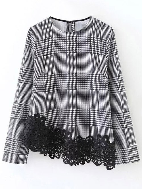 Round Neck Houndstooth Lace Panel Blouse