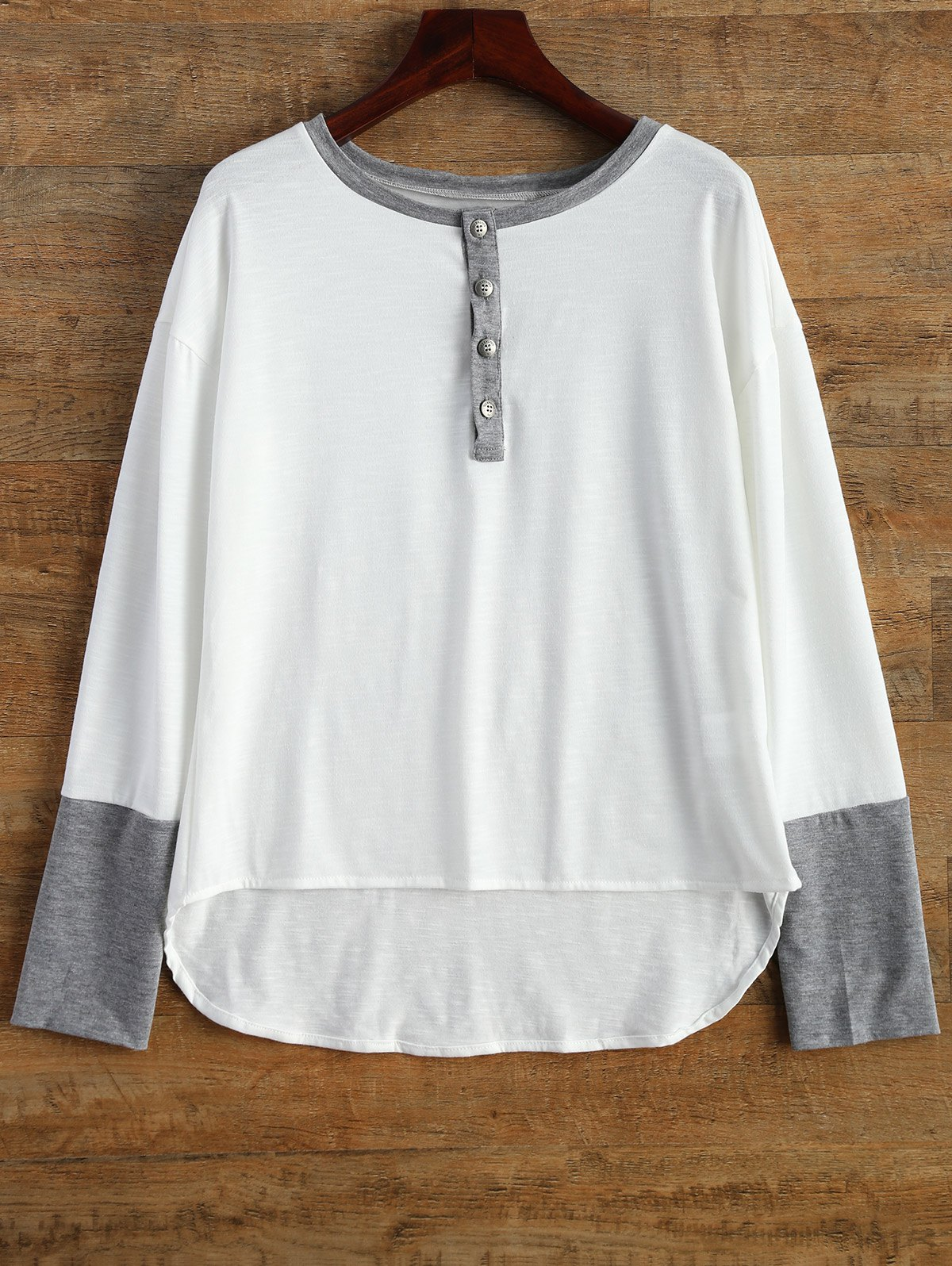 Buttoned Contrast Trim Long Sleeve Tee