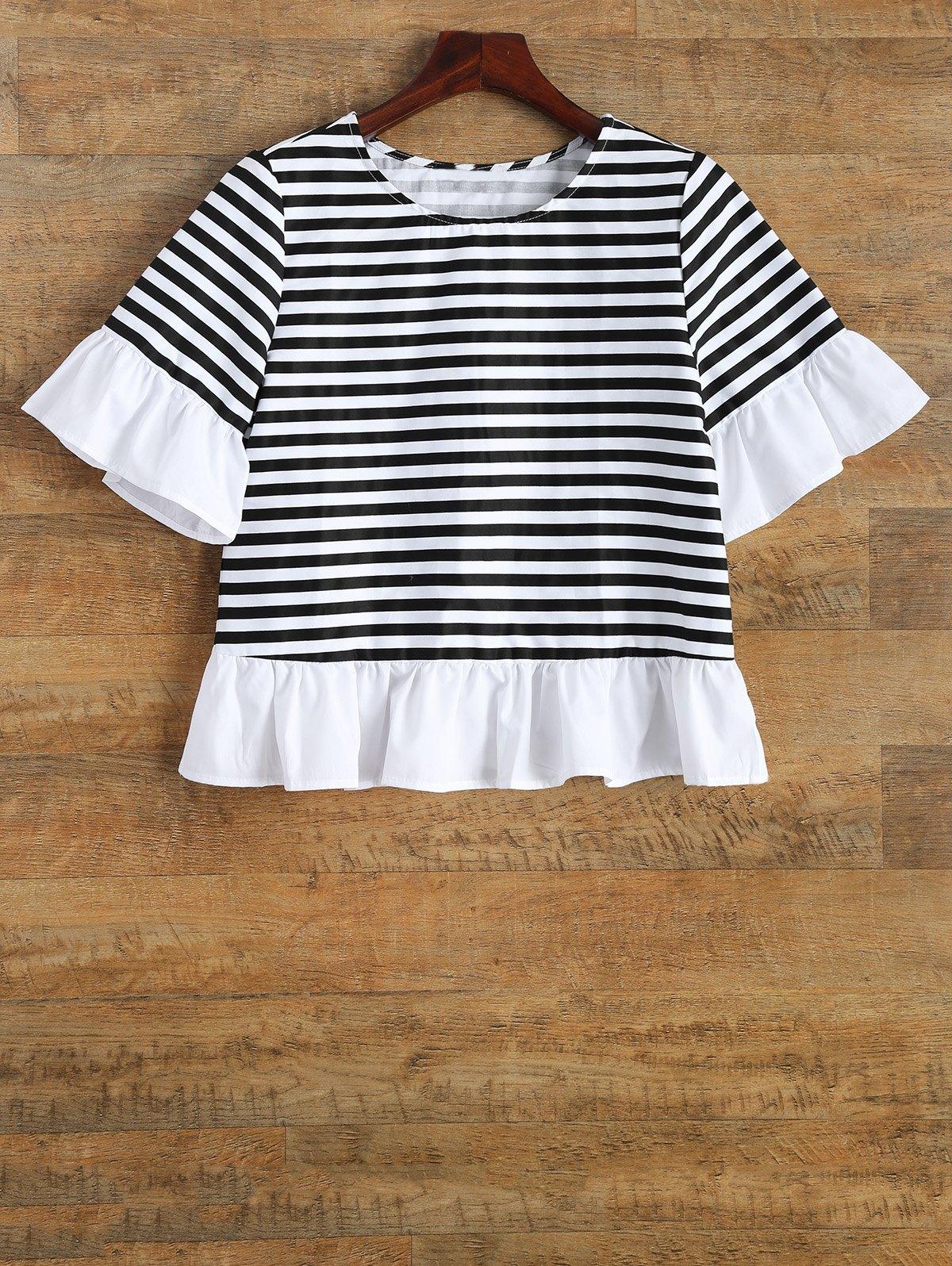 Round Neck Ruffles Striped T-Shirt