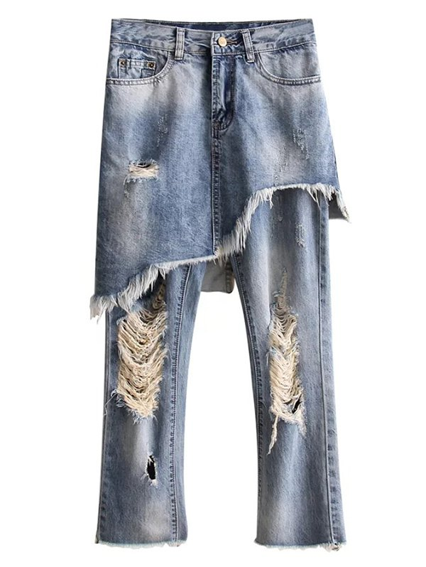 Bleach Wash Ripped Skirted Jeans
