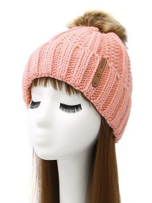 Striped Pom Ball Knitted Beanie - Pink