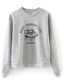Ice Skates Print Pullover Sweatshirt