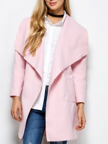 Wrap Woolen Coat With Pockets - Pink