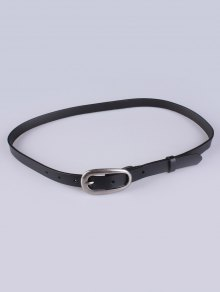 Buy Faux Leather Pin Buckle Skinny Belt BLACK