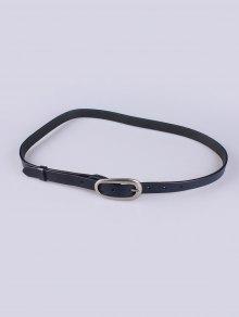 Buy Faux Leather Pin Buckle Skinny Belt DEEP BLUE