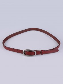 Buy Faux Leather Pin Buckle Skinny Belt BROWN