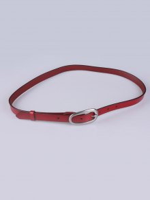 Buy Faux Leather Pin Buckle Skinny Belt BURGUNDY