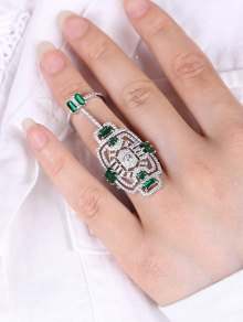 Engraved Rhinestoned Geometric Hollow Out Ring
