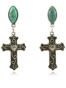 Fake Gemstone Heart Crucifix Earrings