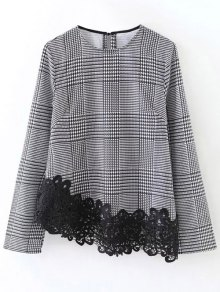 Houndstooth Lace Panel Blouse