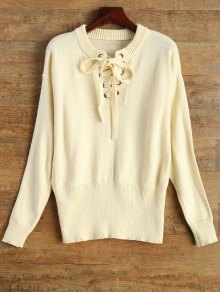 Leisure Fitting Lace-Up Sweater