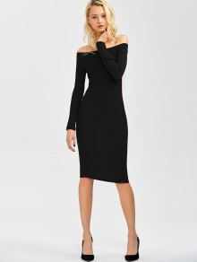 Off Shoulder Bodycon Long Sleeve Dress - Black