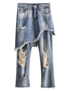 Ripped Skirted Jeans - Denim Blue