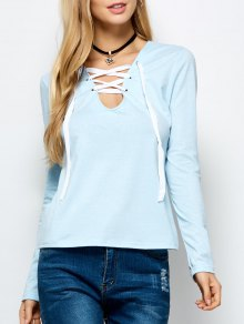 Long Sleeves Lace Up Tee