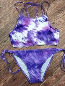 Tie Dyed String Bikini Set - Light Purple
