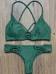 Lattice Straps Bikini Set - Green
