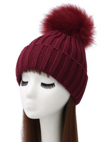 Flanging Pom Ball Knitted Beanie - Wine Red
