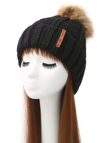 Striped Pom Ball Knitted Beanie