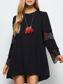 Long Sleeve Lace Panel Chiffon Shift Dress