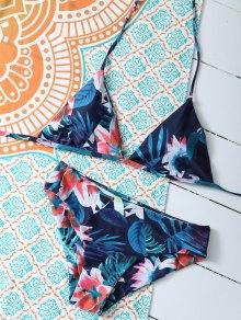 Flower Halter Bikini Set - Blue