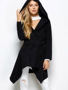 Hooded Asymmetric Wrap Coat