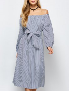 Striped Off Shoulder Side Slit Dress