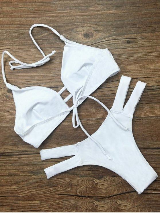 String Halter Unlined Bikini Swimwear - WHITE XL Mobile