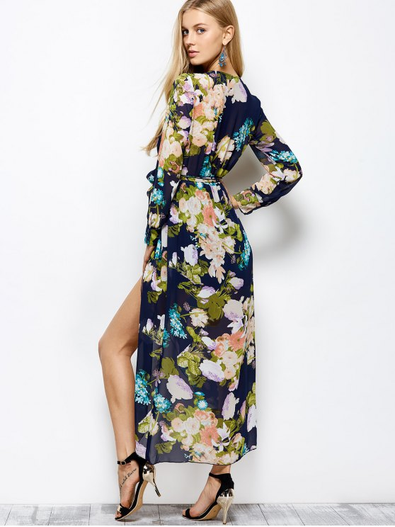 Long Sleeve Floral Maxi Dress with Slit - FLORAL L Mobile