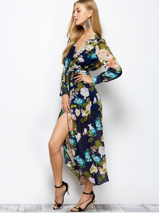 Long Sleeve Floral Maxi Dress with Slit - FLORAL M Mobile