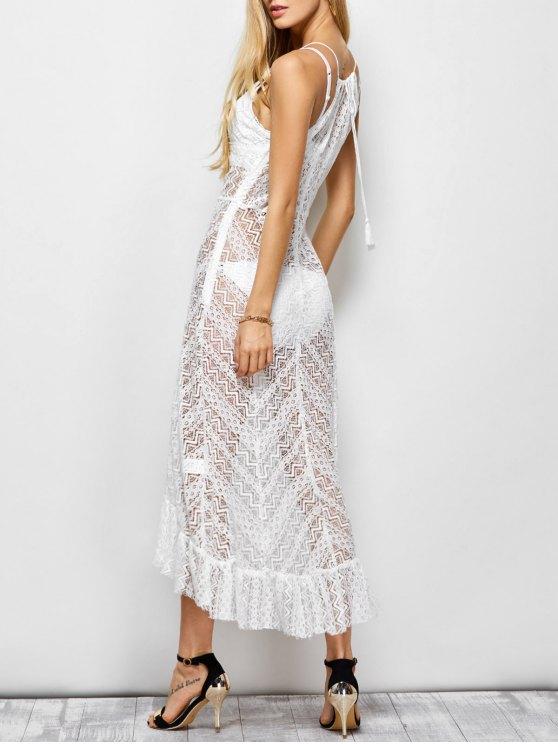 outfits Ruffles See Through Maxi Cami Dress - WHITE 2XL