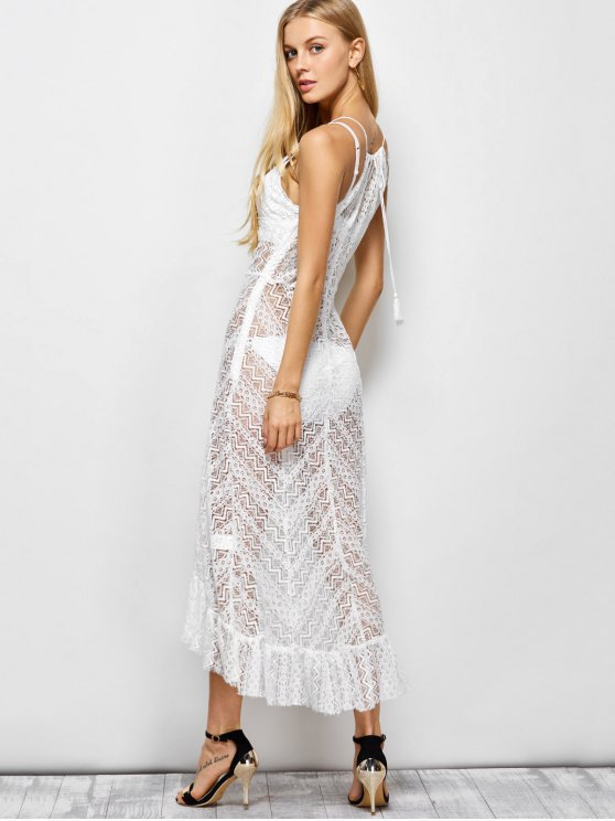 Ruffles See Through Maxi Cami Dress - WHITE L Mobile
