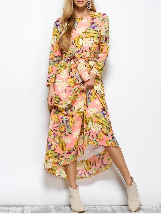 Long Sleeve Floral Print Belted Maxi Dress - FLORAL L Mobile