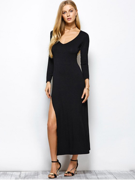 Plunge Neck Long Sleeve Maxi Dress with Slit - BLACK 2XL Mobile