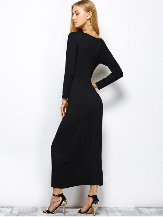 Plunge Neck Long Sleeve Maxi Dress with Slit - BLACK M Mobile