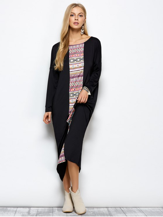 Batwing Sleeve Tribal Print Maxi Dress with Pocket - BLACK XL Mobile