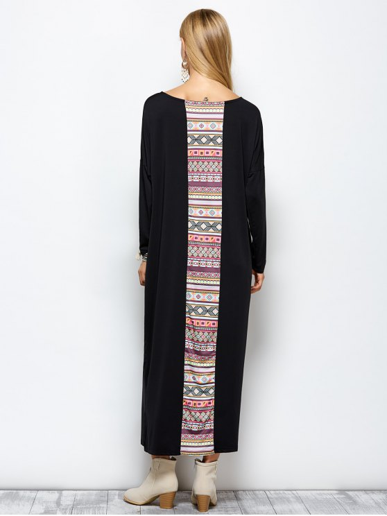 Batwing Sleeve Tribal Print Maxi Dress with Pocket - BLACK L Mobile