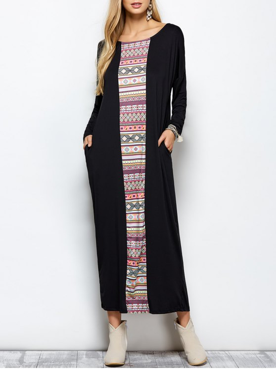 Batwing Sleeve Tribal Print Maxi Dress with Pocket - BLACK M Mobile
