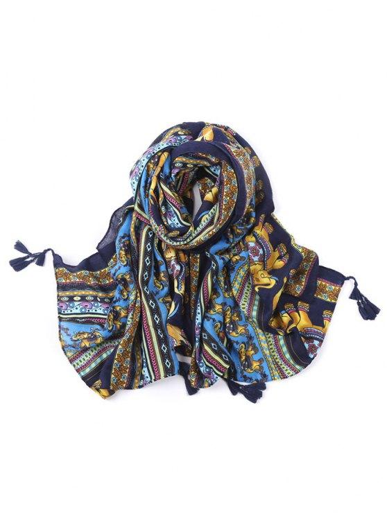 Elephant Pattern Tassel Scarf - BLUE  Mobile