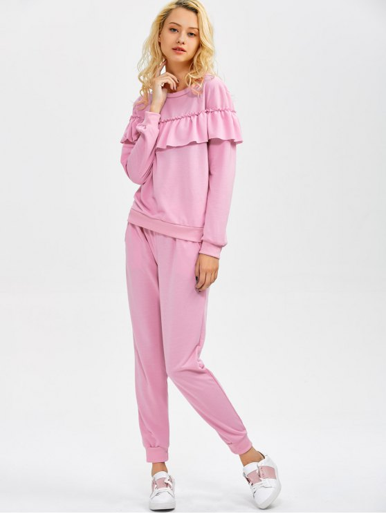 Flounced Sweatshirt and Pockets Design Pants - PINK XL Mobile