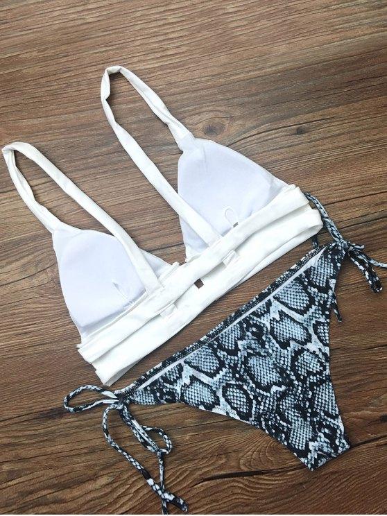 Cami String Abstract Bikini Set - WHITE S Mobile
