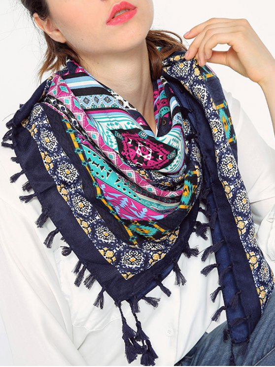 new Geometry Pattern Tassel Scarf - CADETBLUE