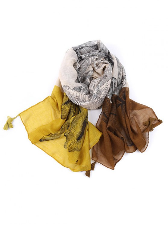 Voile Eagle Print Color Block Tassel Scarf - YELLOW  Mobile