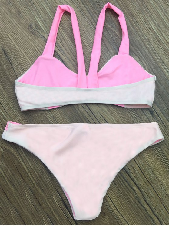 Scalloped Color Block Bikini Set - LIGHT PINK XL Mobile