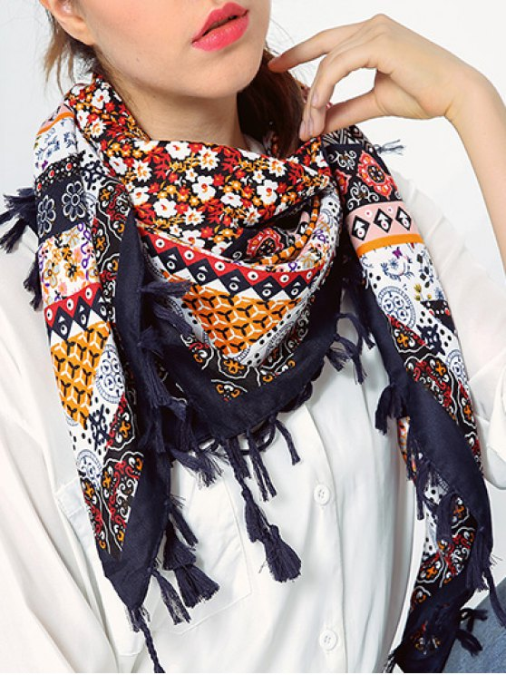 Impresión floral de la borla de la bufanda - Teal