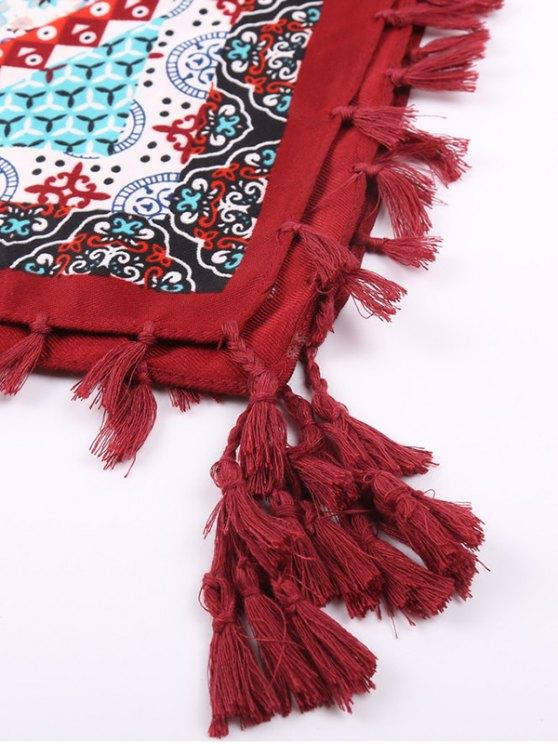 Floral Print Tassel Scarf - WINE RED  Mobile