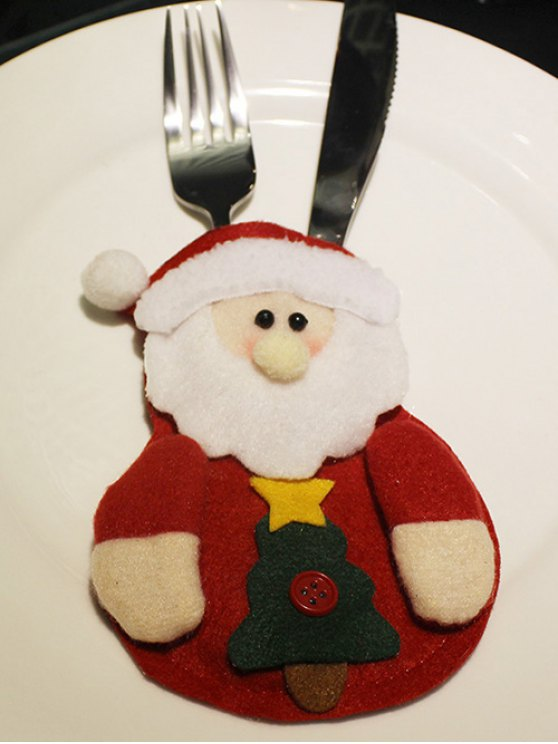 Christmas Santa Claus Tableware Cover Bag -   Mobile