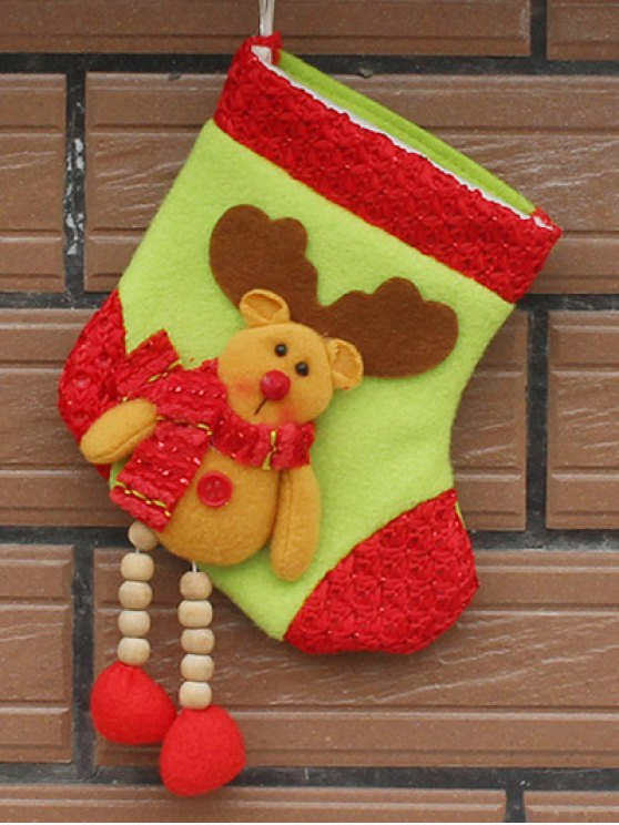 Christmas Deer Pattern Hanging Santa Present Sock -   Mobile