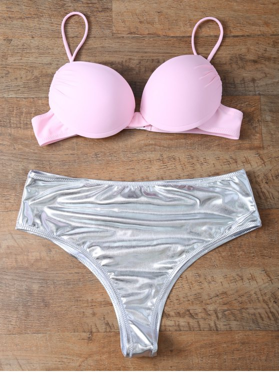Underwire Bikini Top and Metallic Bottoms - PINK + SILVER S Mobile